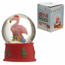 Karácsonyi Flamingó hógömb színben