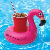 Felfújható pink flamingó italtartó
