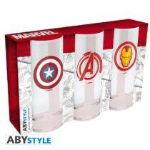 Marvel 3 db-os üveg pohár szett