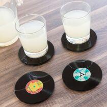 Üveg retro bakelit lemez poháralátét szett (4 db)