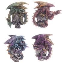 Dark Legends sárkány ezüst koponyán hűtőmágnes