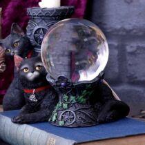 Fekete macska kristálygömb tartó