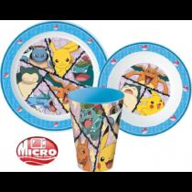 Pokémon micro műanyag étkészlet szett pohárral
