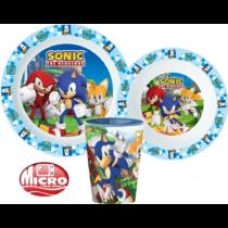 Sonic étkészlet szett pohárral