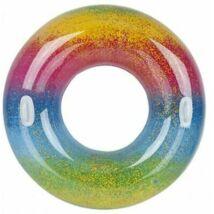 Szivárvány színű glitteres úszógumi, kapaszkodókkal