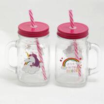 Cuki unikornis befőttes üveg pohár szívószállal