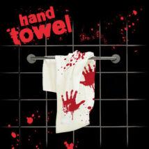 Véres fürdőszobai kéztörlő törölköző