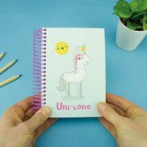 Unikornis spirál jegyzetfüzet