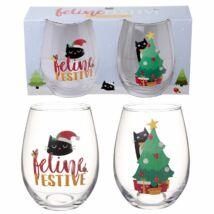Karácsonyi macskás 2 db -os pohárkészlet