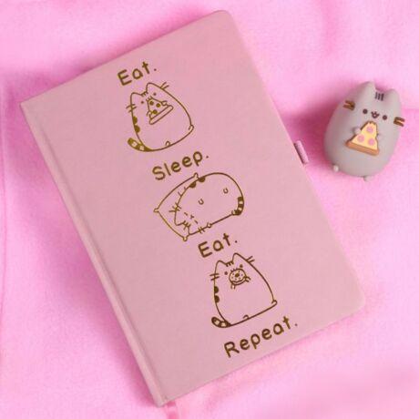 Pusheen cica jegyzetfüzet - evés, alvás, újrakezdés