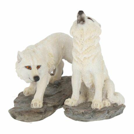 Vadászat előtt farkas szobor szett