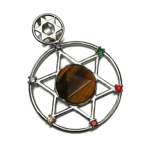 Wicca - Hexagram Tigrisszem medál