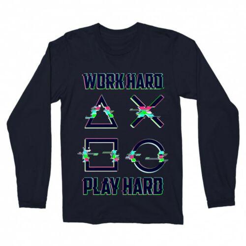 Playstation - Work Hard férfi hosszúujjú póló